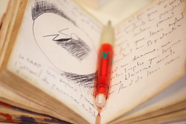 Um caderno de anotações aberto com uma caneta laranja repousada na dobra do meio. As folhas são envelhecidas e estão escritas e desenhadas em preto.